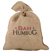 Buy 'Bah Humbug' Traditional Jute Christmas Santa Sack Online at johnlewis.com