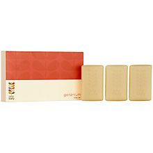 Buy Orla Kiely Geranium Soap Stack Set Soap, 3 x 100g Online at johnlewis.com
