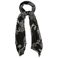 Buy Phase Eight Paisley Print Scarf, Black/Ivory Online at johnlewis.com
