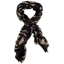 Buy Chesca Zebra Printed Soft Scarf, Black/Ivory Online at johnlewis.com