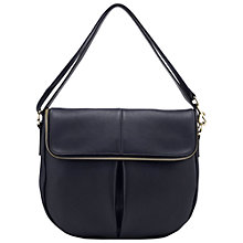 Buy Whistles Duffy Zip Leather Satchel Bag, Navy Online at johnlewis.com