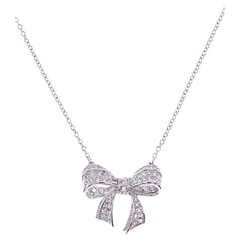 Buy Ted Baker Small Crystal Pave Bow Necklace, Clear Online at johnlewis.com