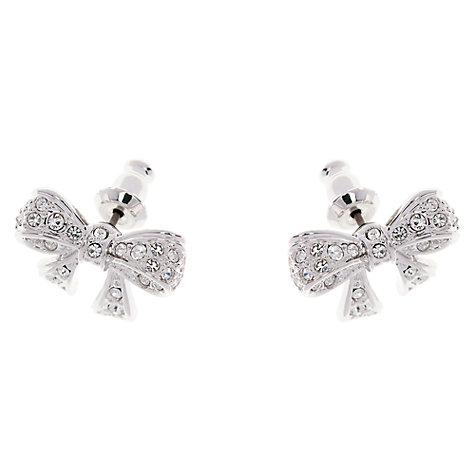 Buy Ted Baker Pepe Pave Crystal Bow Stud Earrings, Silver Online at johnlewis.com