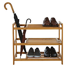 Buy John Lewis 3 Tier Shoe / Umbrella Rack, Oak Online at johnlewis.com