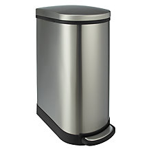 Buy John Lewis Semi-Round Pedal Bin, Stainless Steel, 40L Online at johnlewis.com