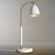 Buy John Lewis Bromley LED Task Lamp, White/Brass Online at johnlewis.com