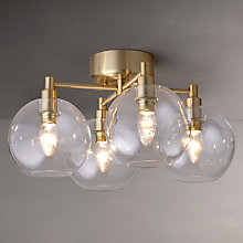 Buy John Lewis Gloria Brass 4 Light Semi-Flush Ceiling Light Online at johnlewis.com