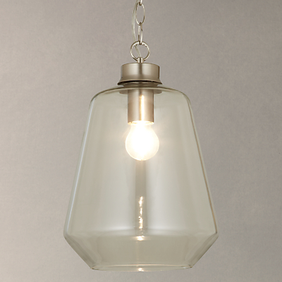 John Lewis Colbert Glass and Brass ES Pendant Light, Clear/Silver