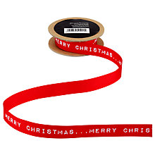 Buy John Lewis Merry Christmas Ribbon, 3m, Red Online at johnlewis.com