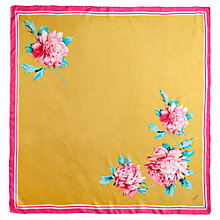 Buy Joules Clarence Peony Silk Scarf, Gold Online at johnlewis.com