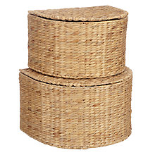 Buy John Lewis Water Hyacinth Lidded Storage Baskets, Set of 2 Online at johnlewis.com
