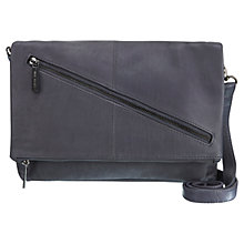 Buy Mint Velvet Amy Leather Zip Fold Bag, Grey Steel Online at johnlewis.com
