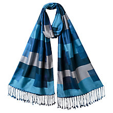 Buy East Silk Colour Block Scarf, Indigo Online at johnlewis.com