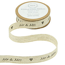 Buy John Lewis Mr and Mrs Linen Ribbon, Multi Online at johnlewis.com