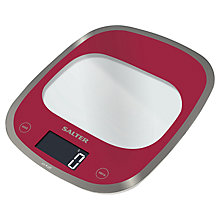 Buy Salter Curve Glass Electronic Kitchen Scale, Red Online at johnlewis.com
