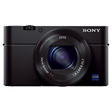 "Buy Sony Cyber-shot DSC-RX100 III Camera, HD 1080p, 20.1MP, 2.9x Optical Zoom, Wi-Fi, NFC, OLED EVF, 3"" Screen with Memory Card Online at johnlewis.com"