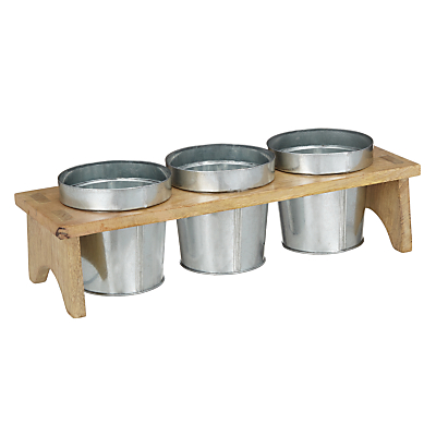 John Lewis Croft Collection Herb Pots with Wooden Holder