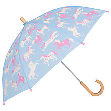 Buy Hatley Horses and Hearts Umbrella, Pale Blue Online at johnlewis.com