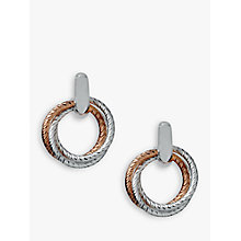 Buy Links of London Aurora Cluster Bi-Metal Hoop Earrings, Silver/Rose Gold Online at johnlewis.com