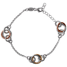 Buy Links of London Aurora Bi-Colour Linked Hoop Bracelet, Silver / Rose Gold Online at johnlewis.com