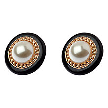 Buy Adele Marie Pearl Disc Earrings, Black/Gold Online at johnlewis.com