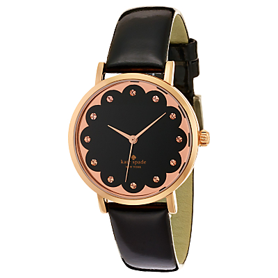 kate spade new york 1YRU0583 Women's Metro Scalloped Rose Gold Plated Leather Strap Watch, Black