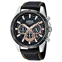 Buy Lorus RT307BX9 Men's Chronograph Date Leather Strap Watch, Black Online at johnlewis.com