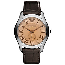 Buy Emporio Armani Men's Analogue Leather Strap Watch Online at johnlewis.com