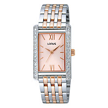 Buy Lorus RRS37VX9 Women's Just Sparkle Rectangular Bracelet Strap Watch, Silver / Rose Gold Online at johnlewis.com