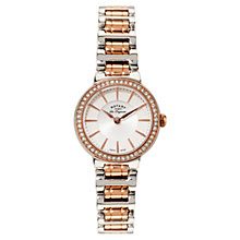 Buy Rotary LB90083/02 Women's Lucerne Rose Gold Plated Two-Tone Watch, Rose Gold/White Online at johnlewis.com