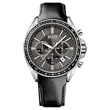 Buy Hugo Boss 1513085 Driver Sport Chronograph Stainless Steel Rubber Strap Watch, Black / Silver Online at johnlewis.com