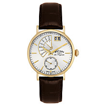 Buy Rotary GS90086/06 Men's Les Originales Gold Plated Leather Strap Watch, Brown/White Online at johnlewis.com