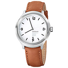 Buy Mondaine MH1B1210LG Unisex Helvetica No 1 Bold 43mm Leather Strap Watch, Brown/White Online at johnlewis.com