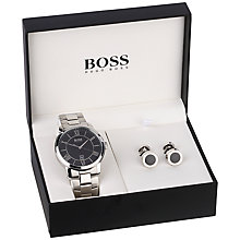 Buy BOSS 1570024 Men's Watch and Cufflinks Gift Set, Silver Online at johnlewis.com
