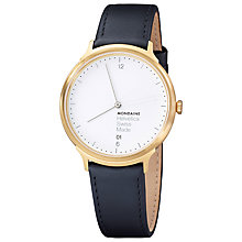 Buy Mondaine Mh1.l2211.lb Unisex Helvetica Leather Strap Watch, Black/White Online at johnlewis.com