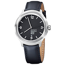 Buy Mondaine Mh1.b1220.lb Unisex Helvetica Leather Strap Watch, Black Online at johnlewis.com