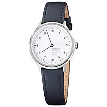 Buy Mondaine Mh1.r1210.lb Unisex Helvetica Leather Strap Watch, Black/White Online at johnlewis.com
