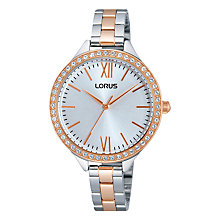 Buy Lorus Rrs28vx9 Women's Just Sparkle Silver Dial Watch, Rose Gold Online at johnlewis.com