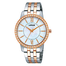 Buy Lorus RRS44VX9 Women's Mother of Pearl Dial Two-Tone Watch, Silver / Rose Gold Online at johnlewis.com