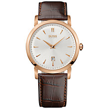 Buy BOSS Men's Analogue Plated Leather Strap Watch Online at johnlewis.com