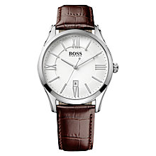 Buy HUGO BOSS Men's Ambassador Leather Strap Watch Online at johnlewis.com
