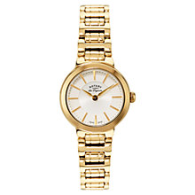 Buy Rotary LB90084/02 Women's Lucerne Gold Plated Bracelet Strap Watch, Gold/White Online at johnlewis.com