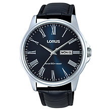 Buy Lorus Rxn13dx9 Men's Leather Strap Watch, Black/Blue Online at johnlewis.com