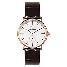 Buy Rotary GS90053/02 Men's Les Originales Kensington Leather Strap Watch, Black/White Online at johnlewis.com