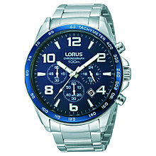 Buy Lorus RT353CX9 Men's Chronograph Date Bracelet Strap Watch, Silver/Blue Online at johnlewis.com