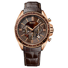 Buy BOSS 1513093 Men's Driver Sport Chronograph Stainless Steel Leather Strap Watch, Black / Rose Gold Online at johnlewis.com