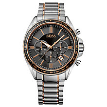 Buy Hugo Boss 1513085 Men's Driver Sport Chronograph Stainless Steel Watch, Black / Silver Online at johnlewis.com