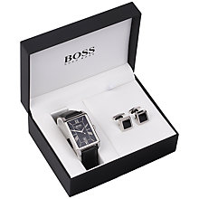 Buy BOSS 1570025 Men's Leather Strap Watch and Cufflinks Gift Set, Black Online at johnlewis.com