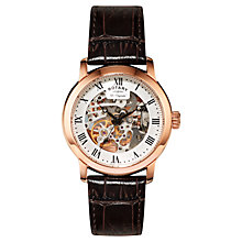 Buy Rotary GS90537/21 Men's Les Originales Rose Gold Plated Leather Strap Automatic Watch, Brown Online at johnlewis.com