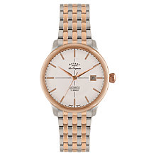 Buy Rotary GB90061/06 Men's Les Originales Stainless Steel Two Tone Automatic Watch, Silver / Rose Gold Online at johnlewis.com